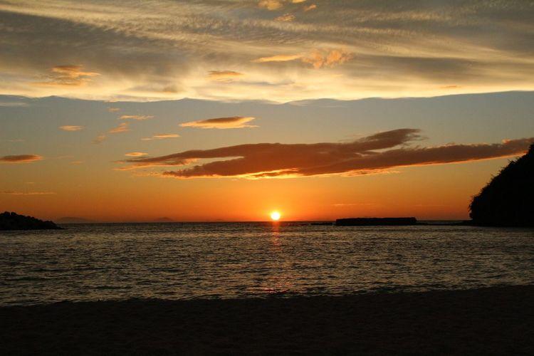 Sunset at beach Saikai City Japan Sunset Sea Scenics Beauty In Nature Sky Tranquil Scene Water