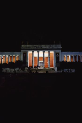 Museum Architecture Built Structure Building Exterior Night Copy Space No People Illuminated Building City Clear Sky Travel Destinations Dark Architectural Column The Past History