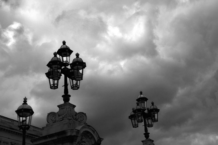 Street Light Sky Cloud - Sky Cloudy Cloud Lamp Post Cloudscape Electric Light Outdoors No People Blackandwhite Black & White Blackandwhite Photography Black&white