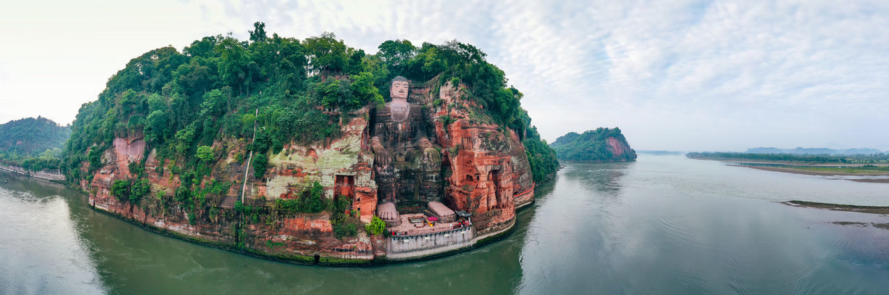 Leshan Giant Buddha China Landscape Architecture Landmark Outdoors Mountain Buddha Sculpture Great Great Views History Travel Travel Destinations Panoramic Panoramic Photography Panoramic View Panoramic Landscape Nature Beauty In Nature Creativity Spirituality Water Sky Scenics - Nature Tranquility Tranquil Scene Day Cloud - Sky No People