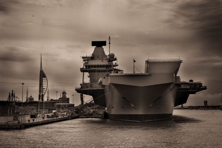 HMS Queen Elizabeth Navy Ship Architecture Building Exterior Built Structure Cloud - Sky Harbor Mode Of Transportation Moored Nature Nautical Vessel Navy No People Outdoors Sea Ship Sky Transportation Travel Travel Destinations Water Waterfront