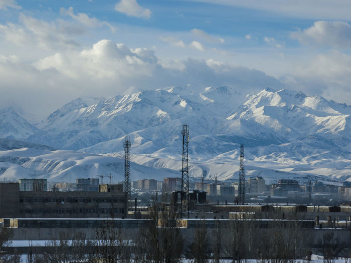 Bishkek Kyrgyzstan Cold Weather Cloud - Sky Cold And Sunny  Cold Days Cold Temperature Mountain Mountain Range No People Snow Winter