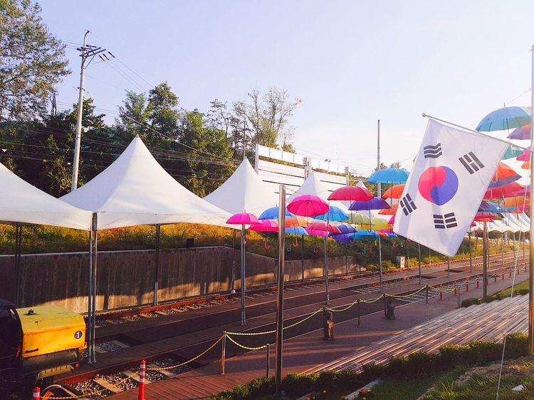 태극기 ChunCheon Umbrella Korea Umbrellas Sky Day No People Dramatic Sky 태극기