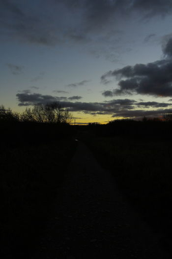 Dimly lit Path Outdoors Diminishing Perspective Dirt Field Non-urban Scene Dirt Road Transportation Land Beauty In Nature The Way Forward Environment Scenics - Nature Tranquil Scene Landscape Sunset Tranquility Road Direction Cloud - Sky Sky Nature No People Silhouette