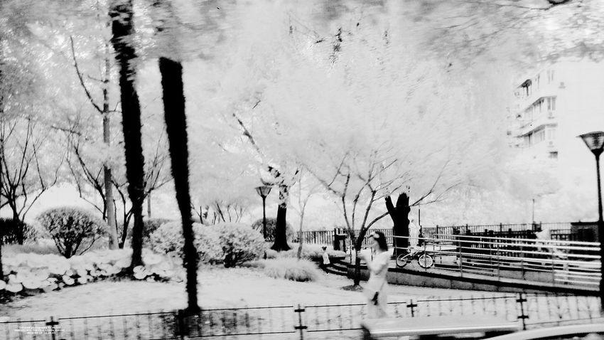 IR Looking Outside The Window Road Shanghai, China Art B&w Photography Bus Hongqiao Train Station Infrared Photo Infrared Photography Outside The Window. People Photography Phone Photography PhonePhotography Rain Window Steel Randomshot