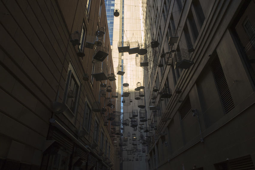 Alley Apartment Architecture Bird Cage Bird Cages Building Building Exterior Built Structure City Day Diminishing Perspective Hanging Low Angle View Narrow Nature No People Outdoors Reflection Residential District Street Sunlight Travel Destinations Window