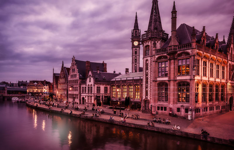Ghent Remo SCarfo Belgium Building Exterior Architecture Built Structure Sky Water Cloud - Sky Illuminated River Dusk Waterfront Travel Destinations Building Reflection City Nature Sunset History Travel Tourism No People Outdoors Spire