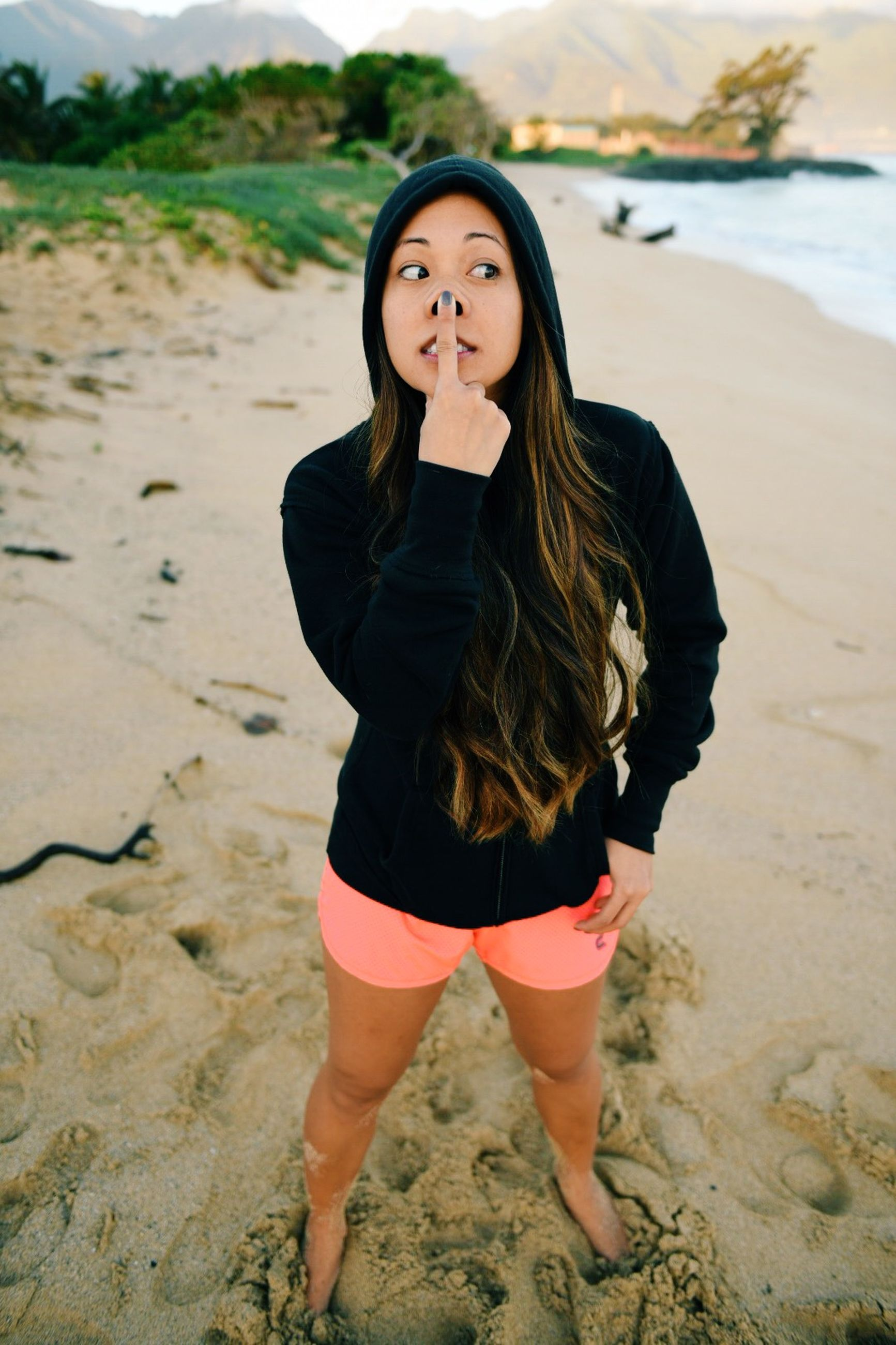 young adult, beach, lifestyles, young women, person, standing, leisure activity, casual clothing, portrait, water, looking at camera, long hair, front view, full length, shore, sand, three quarter length