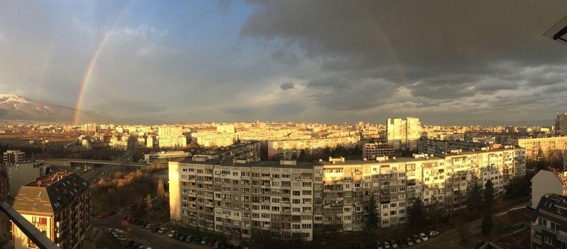 Sofia Town Rainbow Under The Rainbow Architecture City Sky