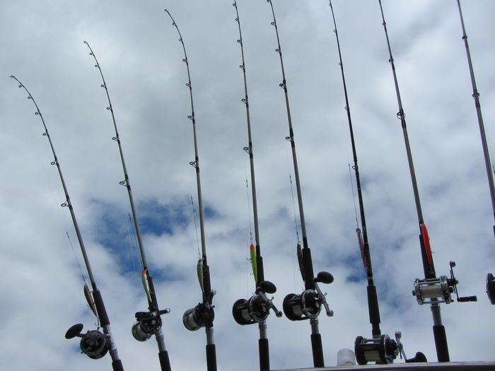 Low Angle View Of Fishing Rods Against Cloudy Sky