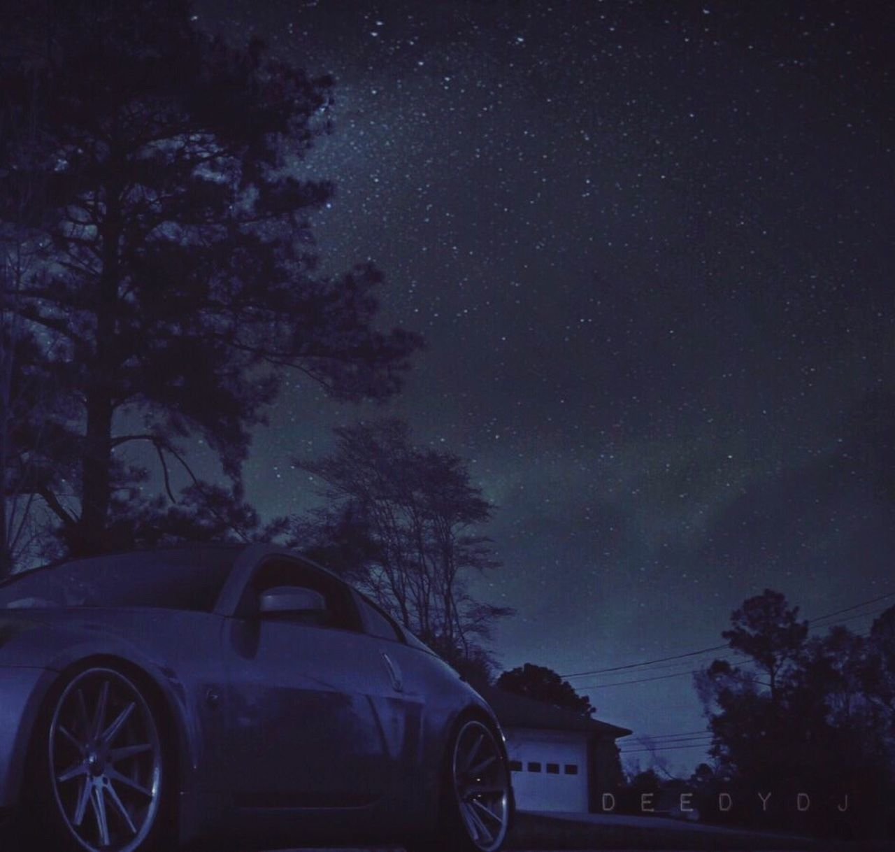 tree, night, car, transportation, nature, star - space, outdoors, sky, no people, land vehicle, beauty in nature, galaxy, astronomy