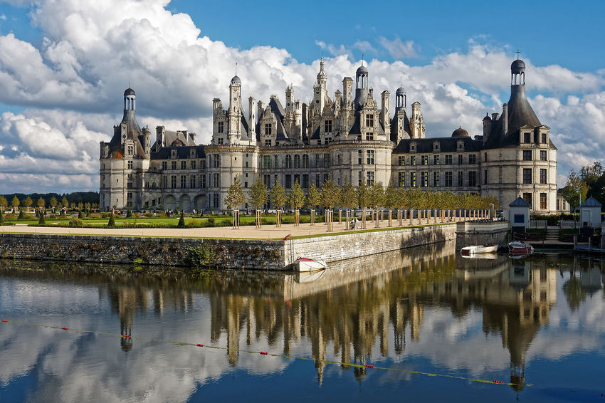 Chateau De Chambord Architecture Building Exterior Built Structure Château City Cloud - Sky Day History Nature No People Outdoors Reflection Sky Travel Destinations Water Waterfront