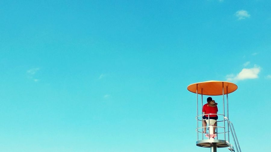 Low Angle View Blue Sky Day Outdoors Nature People Liveguard Karlsruhe Minimalism Swimming Sommergefühle