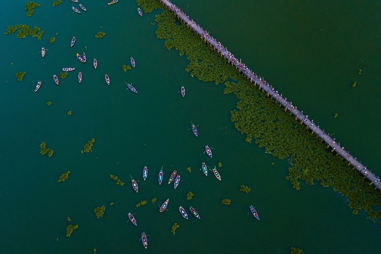 Aerial view of boats in lake