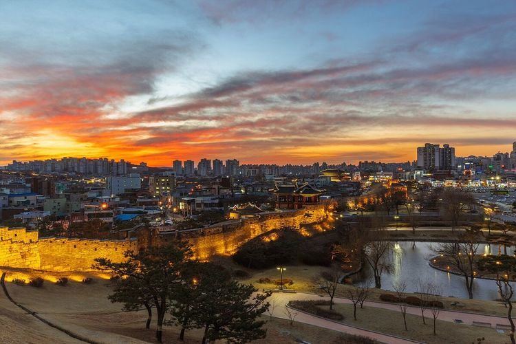 Suwon City Suwon Hwaseong Fortress Sunset Night Landscape Night View Nightscape with Sony A7R and Canon EF16-35mmF4LIS USM