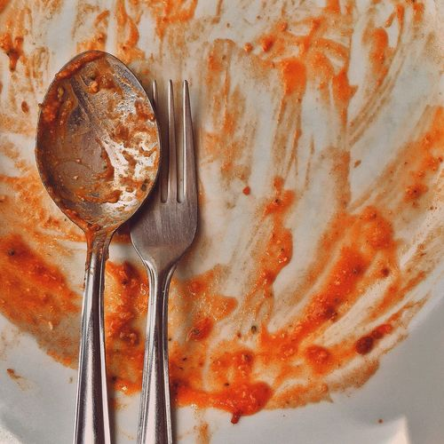 Close-Up Of Spoon And Fork In Messy Food Plate
