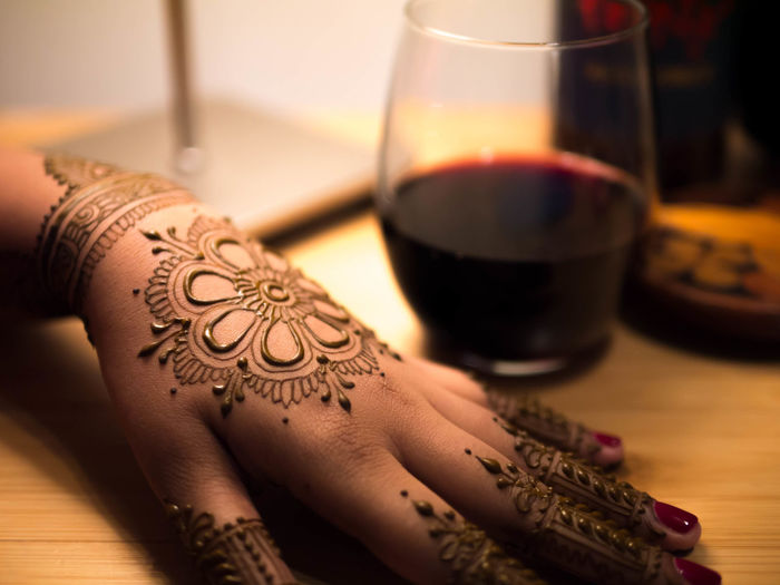 Close-up of hand with henna tattoo