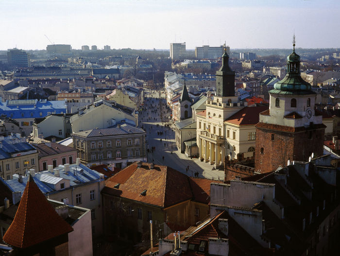 Lublin cityscape against sky