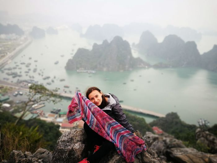 Vietnam Halong Bay Vietnam Dragon Legend Happiness Colors Adult Adults Only Nature One Woman Only Only Women People One Person Mountain Women Outdoors Winter Young Adult Landscape Day Leisure Activity Standing Warm Clothing Lifestyles Portrait