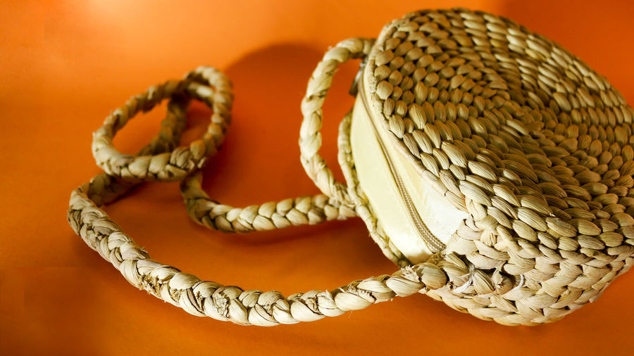 High angle view of necklace on table