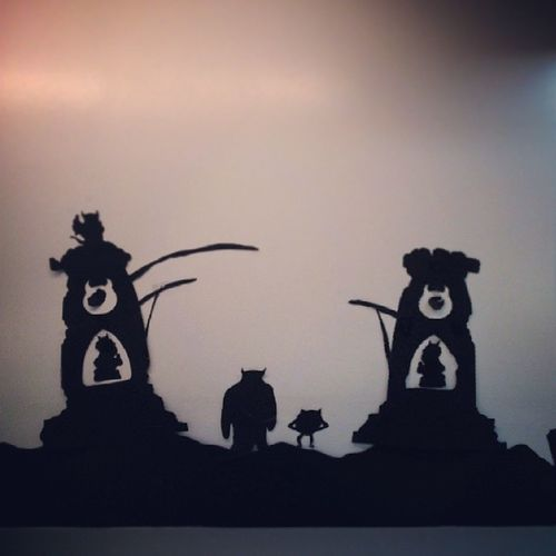 Monsters Haunted University Monstersinc Monstersuniversity Mikeandsully Halloween decor silhouette blackandwhite
