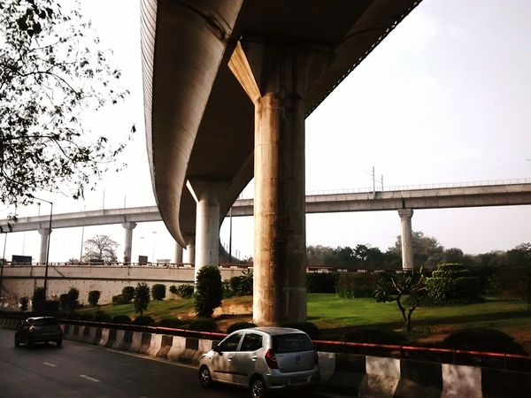 Metro Life Road Delhi, India Morning Flyover Phone Photography Sky