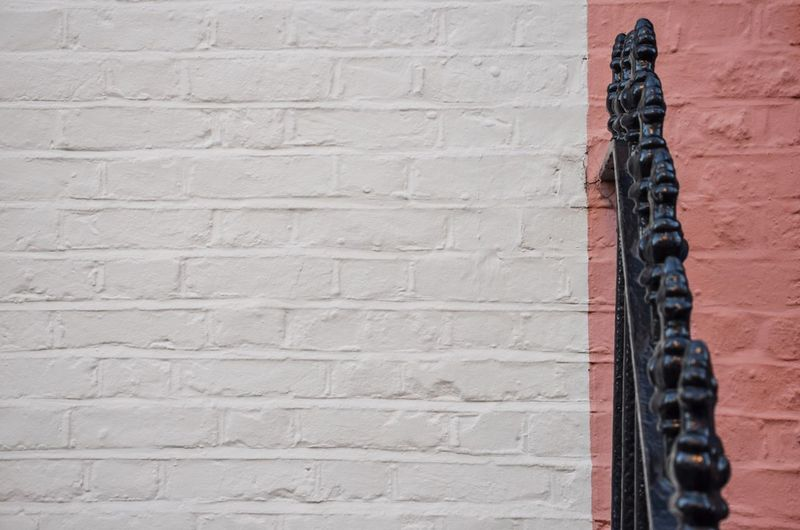 Beautiful Simplicity Wall - Building Feature Brick Wall Built Structure No People Red Architecture Close-up Day Building Exterior Outdoors White Pink Black Railing Simplicity Millennial Pink The Graphic City