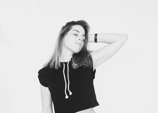 forty-two. B & W By Yeli Self Portrait Black And White Minimalism One Person Front View Indoors  Copy Space Portrait Hairstyle Waist Up Standing Young Adult White Background Studio Shot Long Hair Contemplation Hair Young Women Lifestyles Women Real People