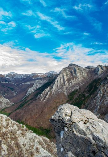 Magnificent view in the national park Paklenica in Croatia. Nature Nature Photography Croatia Wilderness Mountain Rock - Object Sky Landscape Cloud - Sky Rock Formation Geology Sandstone Natural Landmark Canyon Pine Tree Physical Geography