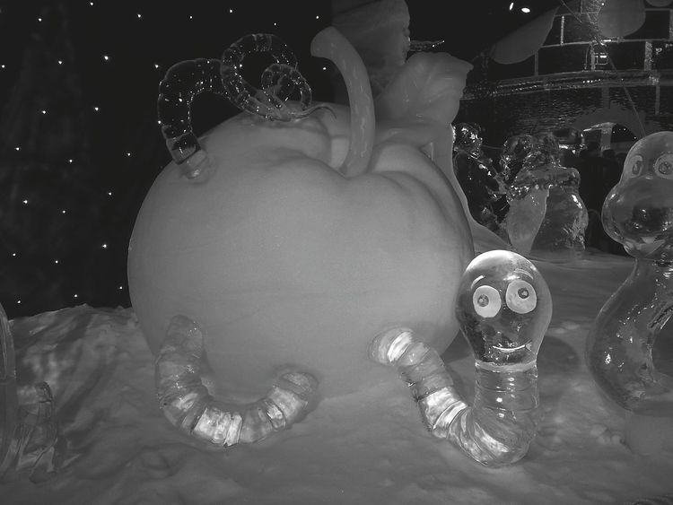 Expo Snow Ice Sculpture Blackandwhite Enjoying Life Hello World Check This Out Taking Photos Special Black And White Light And Shadow Getting Inspired Lightning Blackandwhite Photography Apple Snow ❄ Icecold Iceworx Icewatch Iceland Art, Drawing, Creativity Art ArtWork Exposure