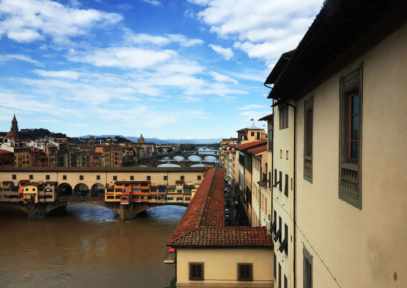 Architecture Arno  Building Exterior Built Structure Cloud - Sky Firenze Florence Landscape Old Town Outdoors Residential Building River Sky Toscana Town Tuscany Uffizi Uffizi Gallery Water