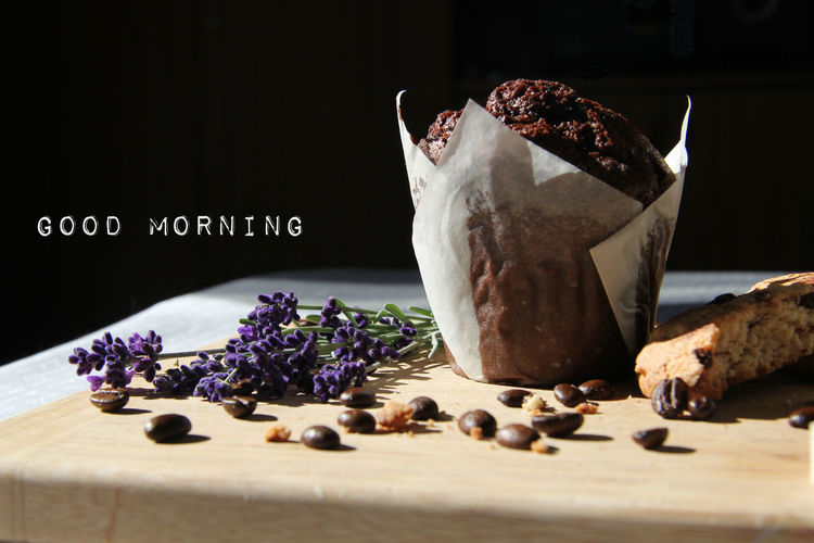 Food And Drink Food Indoors  Freshness Table Sweet Food Close-up No People Dessert Flower Studio Shot Chocolate Black Background Sweet Purple Flowering Plant Lavender Cookie Coffee Beans Good Morning Sign Card