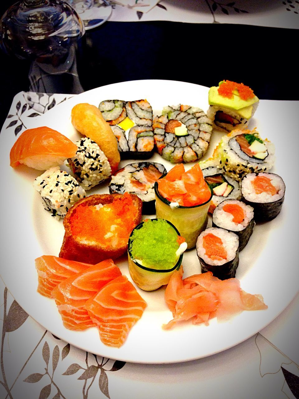 food and drink, seafood, plate, food, freshness, healthy eating, sushi, ready-to-eat, still life, serving size, salmon, table, no people, high angle view, indoors, japanese food, slice, indulgence, prawn, variation, shrimp, food styling, close-up, day