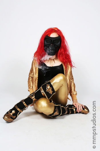 @melvinmaya @mmpstudios_com Beautiful Boots Gold HighHeels Houston Houston Texas Smoke Texas Creative Front View Gorgeous Mask Masked Model Photographer Photography Redhair Redhead Sitting Skull Studio Shot Vape White Background