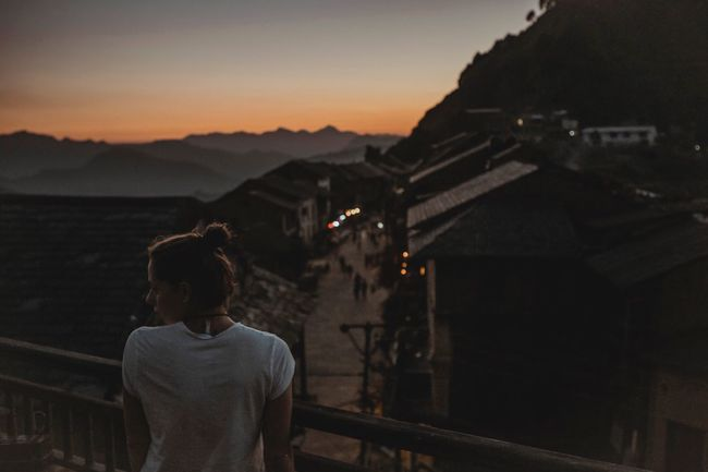 Nepal Balcony Terrace Sunset Mountain Rear View Outdoors Sky One Person Nature Old Buildings Old City Scenics Scenery