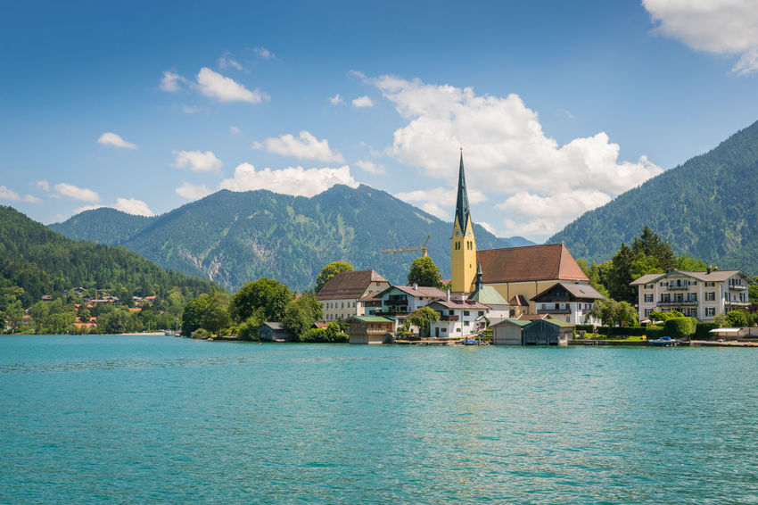 Summer at lake Tegernsee Bavaria Church Laurentius Nature Rottach-Egern Tegernsee Travel Destinations Europe Germany Lake Landscape Miesbach Mountain Rottach Scenery Summer Vacation Wallberg