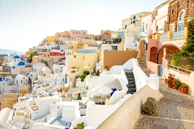 Greece Santorini Oia Thira Architecture Building Exterior Built Structure City Sky Building Nature Residential District Day No People Clear Sky Town Sunlight Outdoors White Color Travel Destinations Staircase Community TOWNSCAPE