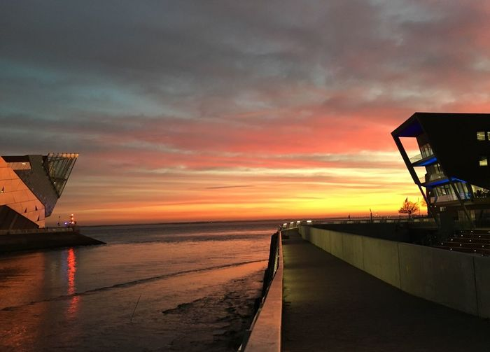 Sunset Water Beauty In Nature Building Exterior Architecture Hull City Of Culture 2017 The Deep Hull C4Di Hull Harbour Port Of Hull Beautiful Sky Pink Yellow Sky