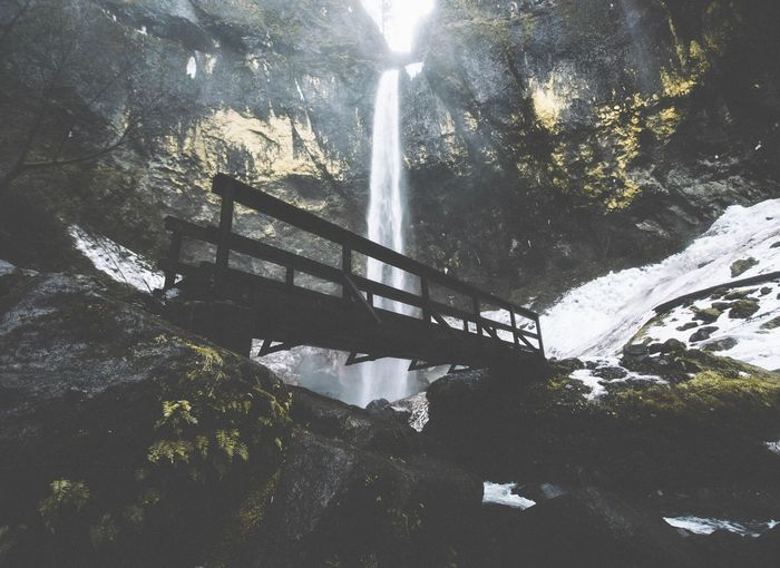 Mood Beauty In Nature Mountain Scenics Water Rock - Object Day Outdoors Tree No People Sky Waterfall Moody Winter Oregon Columbia River Gorge Elowah Falls Nature