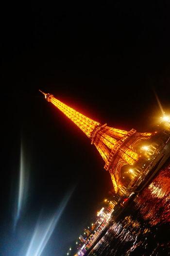 Close-up view of illuminated night