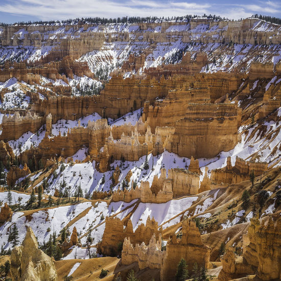 Bryce canyon national park, Utah, USA Bryce Panorama Rock Formation Trees USA Utah Beauty In Nature Bryce Canyon National Park Environment Landscape Mountain No People Rock Scenics - Nature Sky Snow Solid Tranquil Scene