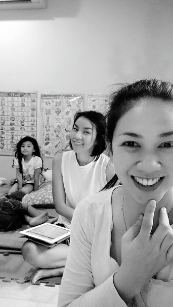Looking At Camera Indoors  Sitting Togetherness Portrait Learning Student Education Smiling Child Girls Three People Classroom People Childhood Friendship Adult Boys Young Women Young Adult