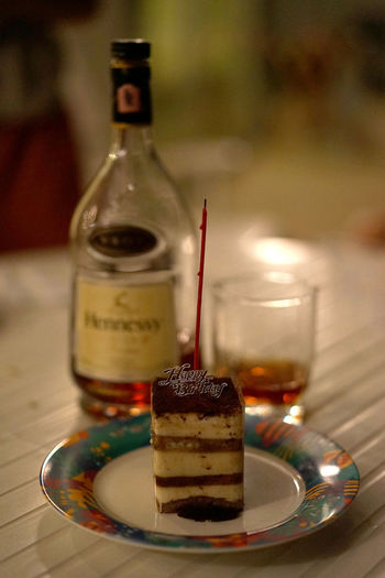 Candle Happy Birthday Huahin Liquor Retro SLICE Thailand VSOP Wood Bottle Brandy Cake Drink Drinking Glass Emo Feel Food Food And Drink Liqueur Plate Table Tiramisu Woonhong