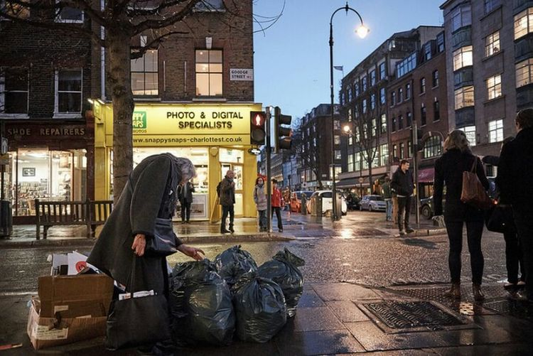 Woman Scavenging City Social Issues City Street Urban Life Urban Street City Life LONDON❤ Cityscape Fitzrovialitter Sidewalk Streetdreamsmag Night Illuminated Street Light Bleak City Shopping Street Rubbish London Calling Street Photography Road People Streetphoto