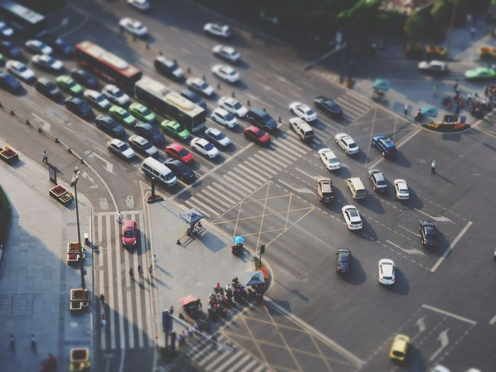 Elevated view of traffic in street