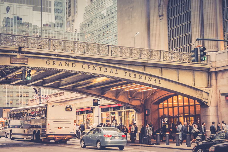 New York, USA - 26th September 2016: Outside Grand Central Terminal on the busy streets of Manhattan, New York. Grand Central Station Manhattan New York New York City Pershing Square Adult Architecture Building Exterior Built Structure City Day Land Vehicle Landmark Landmark Building Large Group Of People Men Mode Of Transport Outdoors Overbridge People Real People Street Train Station Transportation Travel Destinations