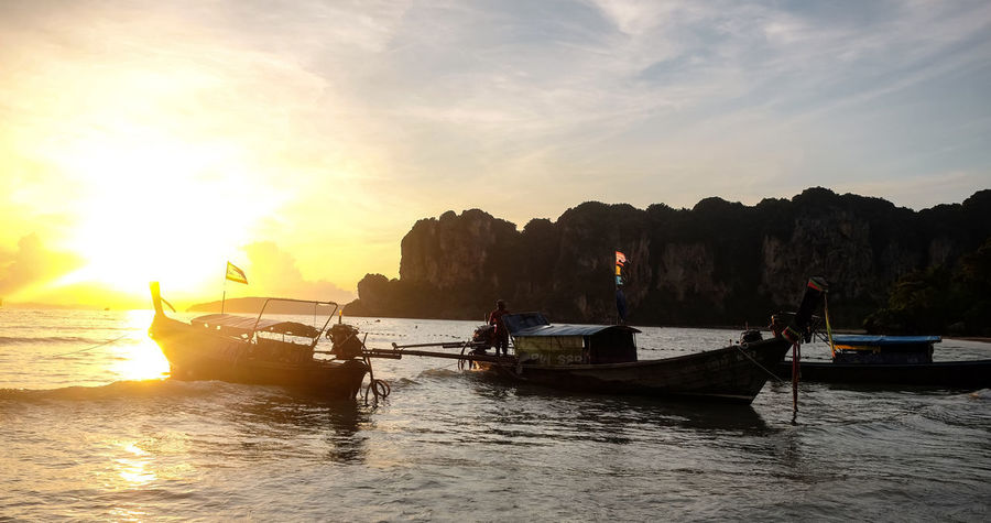 Sunset at Railay Beach, Krabi, Thailand ASIA Asian  Krabi Thailand Travel Travel Photography Beach Beauty Beauty In Nature Landscape Long Tail Boat Nature Outdoors Railay Beach Scenics Sea Sky Sunset Tropical Vacation Water