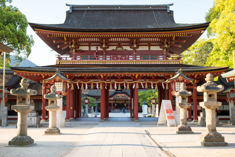 Japan Shine Architectural Column Architecture Building Exterior Built Structure Day Dazaifu No People Outdoors Pagoda Place Of Worship Religion Roof Shrine Spirituality Travel Destinations Tree
