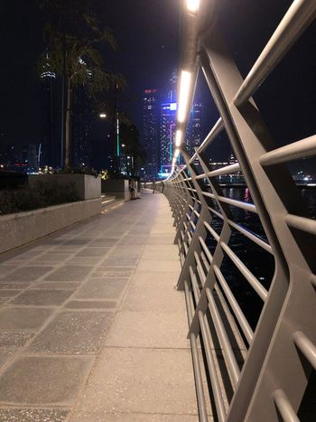 Night Architecture Illuminated Built Structure City Building Exterior The Architect - 2018 EyeEm Awards The Way Forward Direction Street Railing Footpath No People Connection Lighting Equipment
