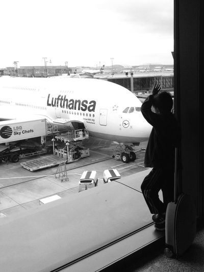 Is that my plane? IPhoneography Iphoneonly Blackandwhite At The Airport Planes IPS2015Light Germany Silhouette